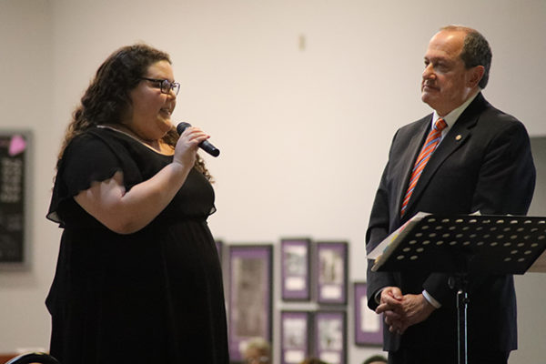Ali Iovino accepts the Food Production Spirit Award from State Rep. David Leland at the LifeCare Alliance Volunteer Recognition event on Monday, April 30, 2018. Photo by Anthony Clemente, LifeCare Alliance.
