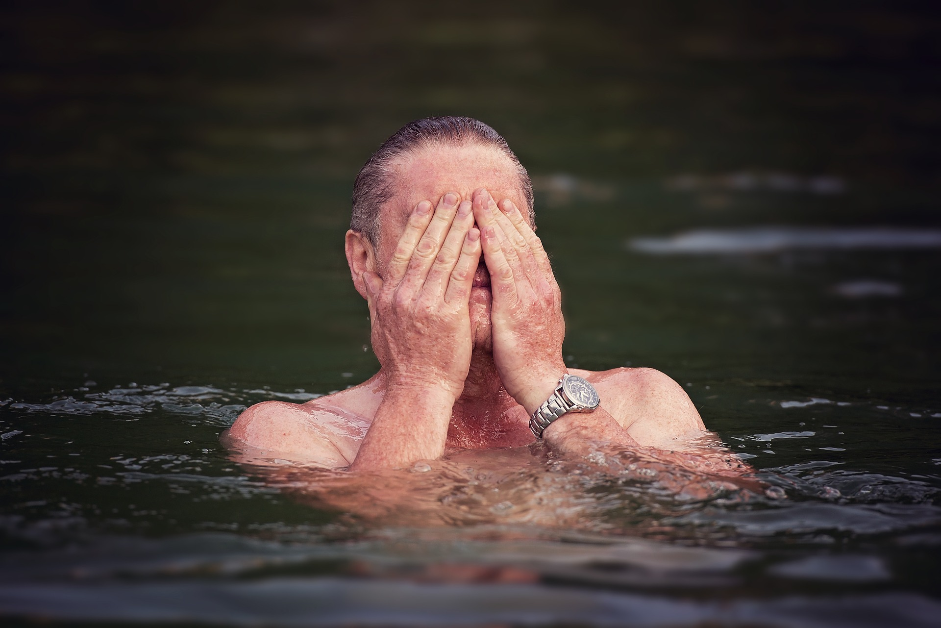 Man cooling down in the water