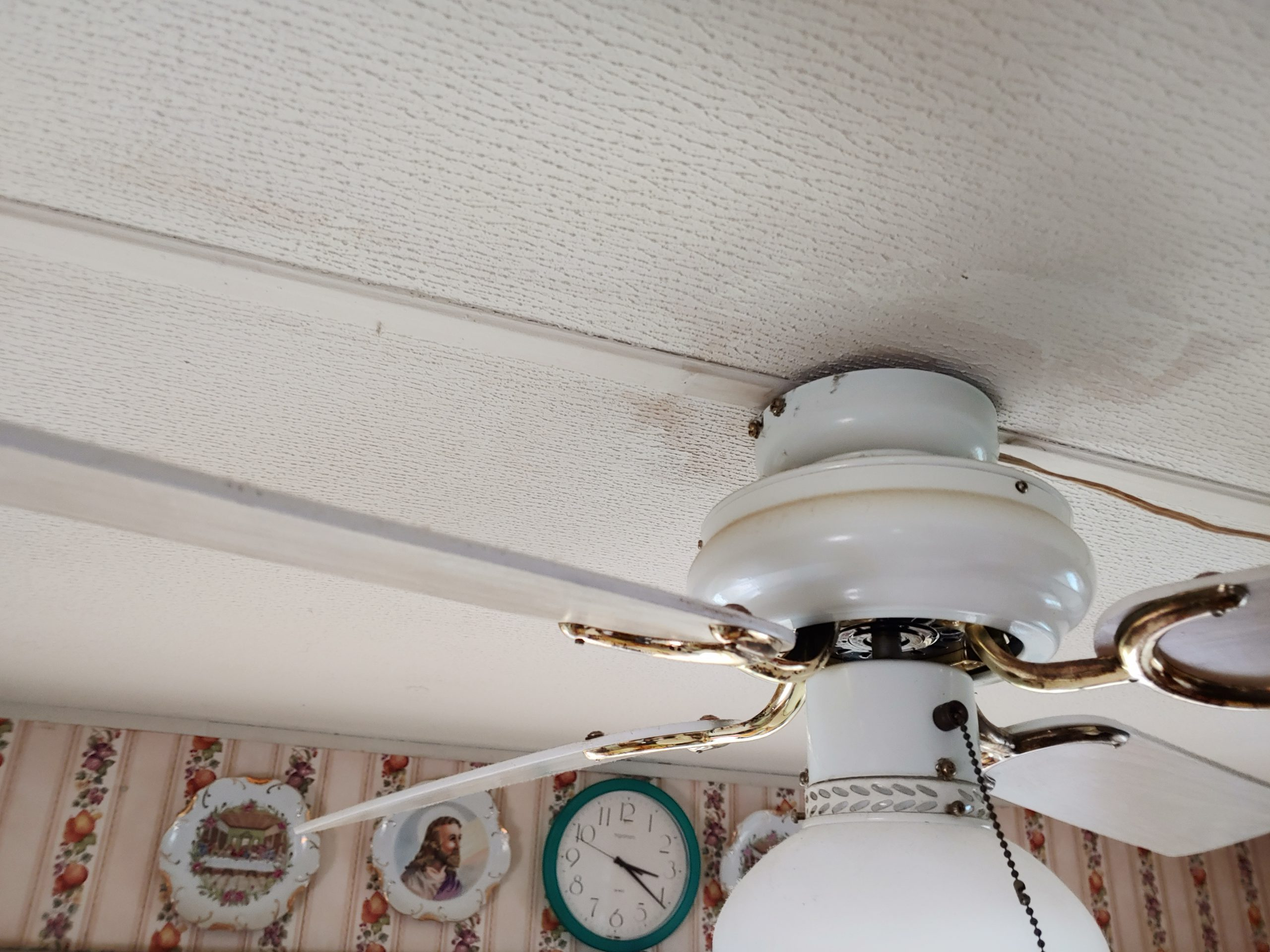 View of water damage on ceiling