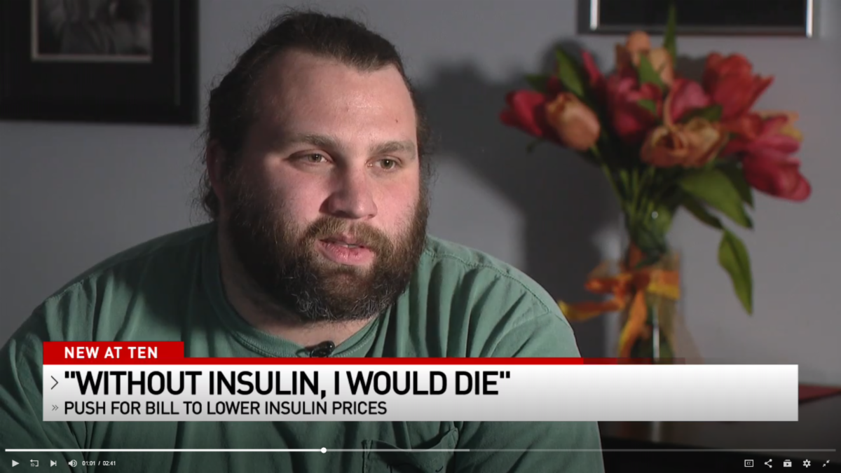 """Anthony Myer of CODA tells a news station """"without insulin, I would die."""""""